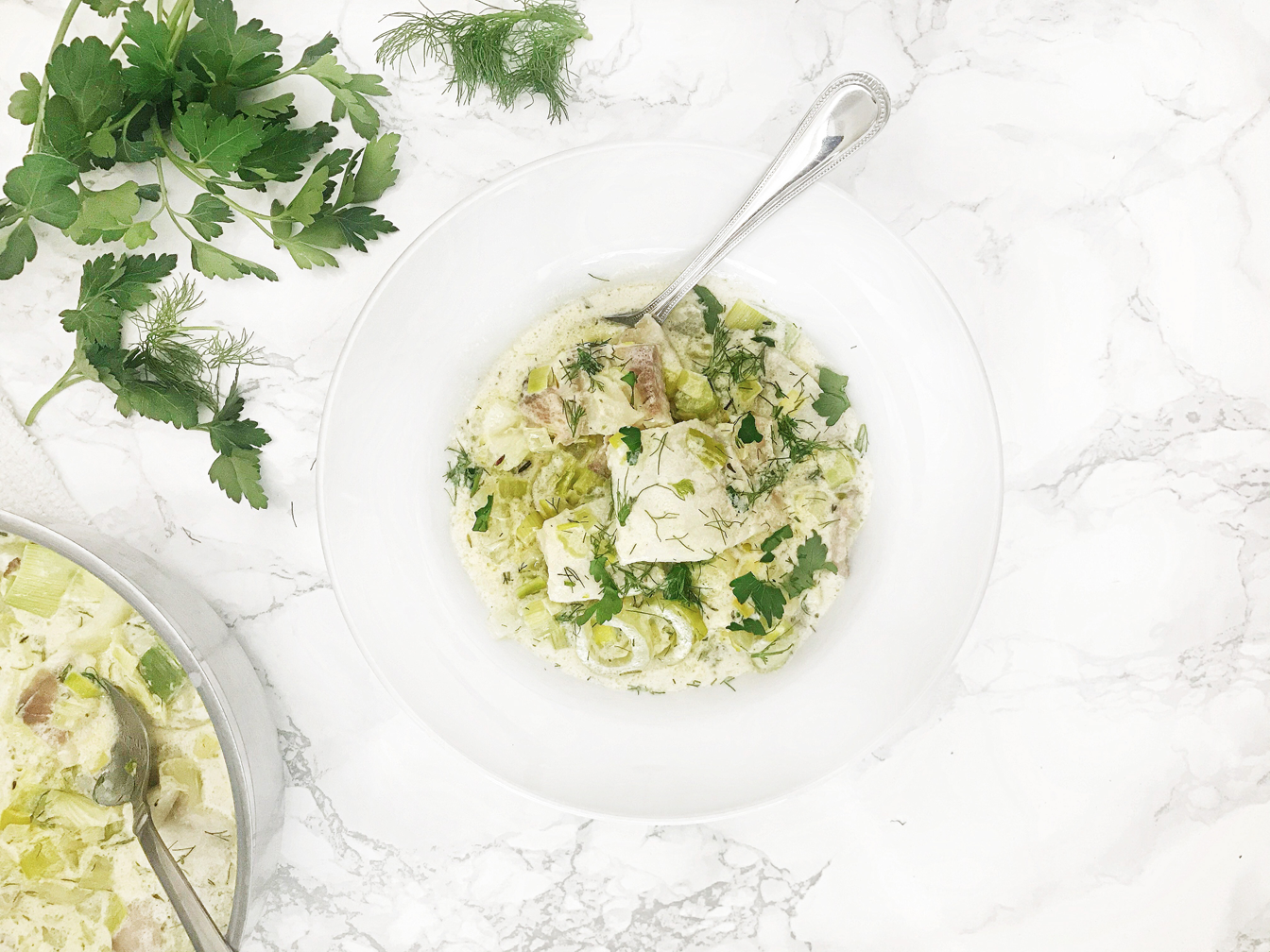 Poached Cod with Creamy Leeks and Fennel
